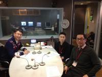 辰巳、アナウンサー原田年晴さん、パーソナリティ西村登代子さんラジオ収録後写真
